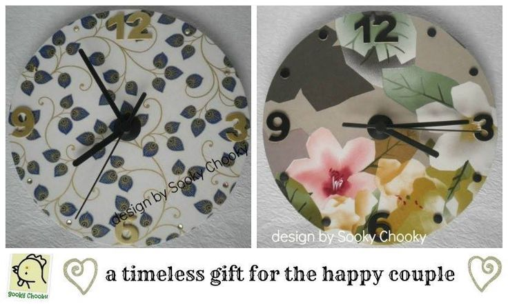 Handmade by Sooky Chooky Fabric covered clocks a gift for the Bride and Groom.