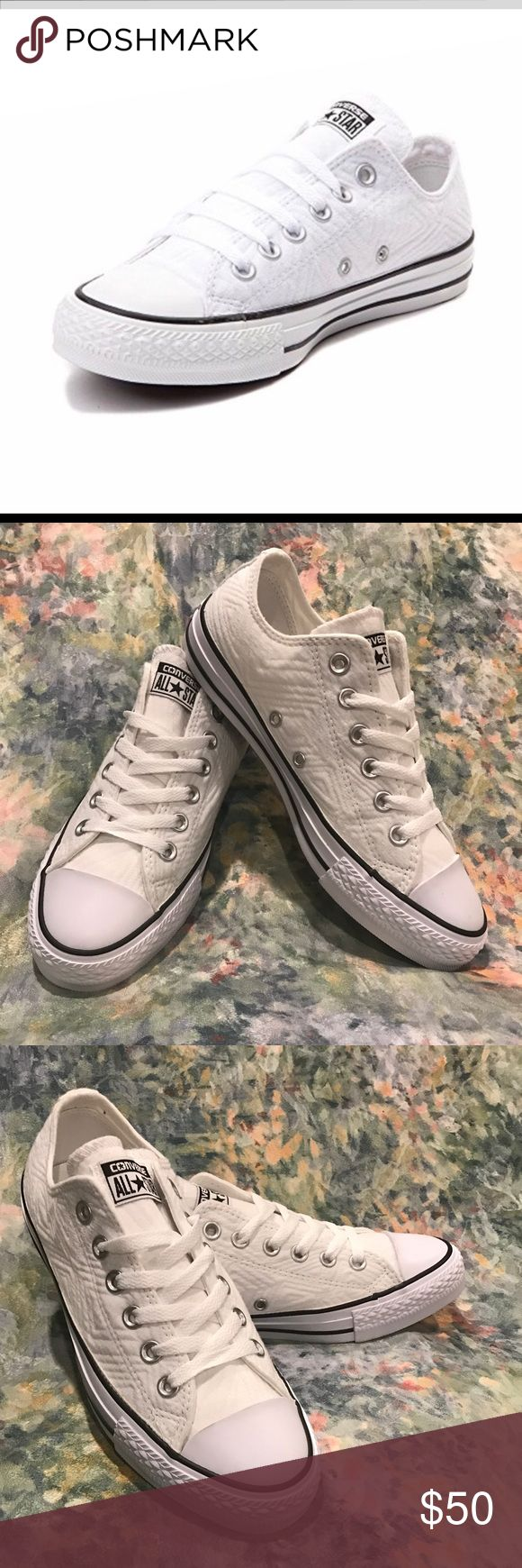 New lo jersey quilted converse Brand new. White quilted converse shoes. Sz 7.5 but fit like an 8.5 Converse Shoes Sneakers
