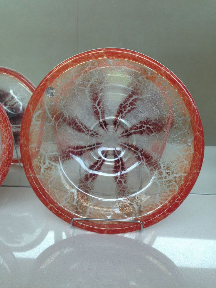 ANTIQUE WMF GERMANY IKORA GLASS LARGE BOWL ORANGE MAROON CLEAR FOOTED HAND BLOWN