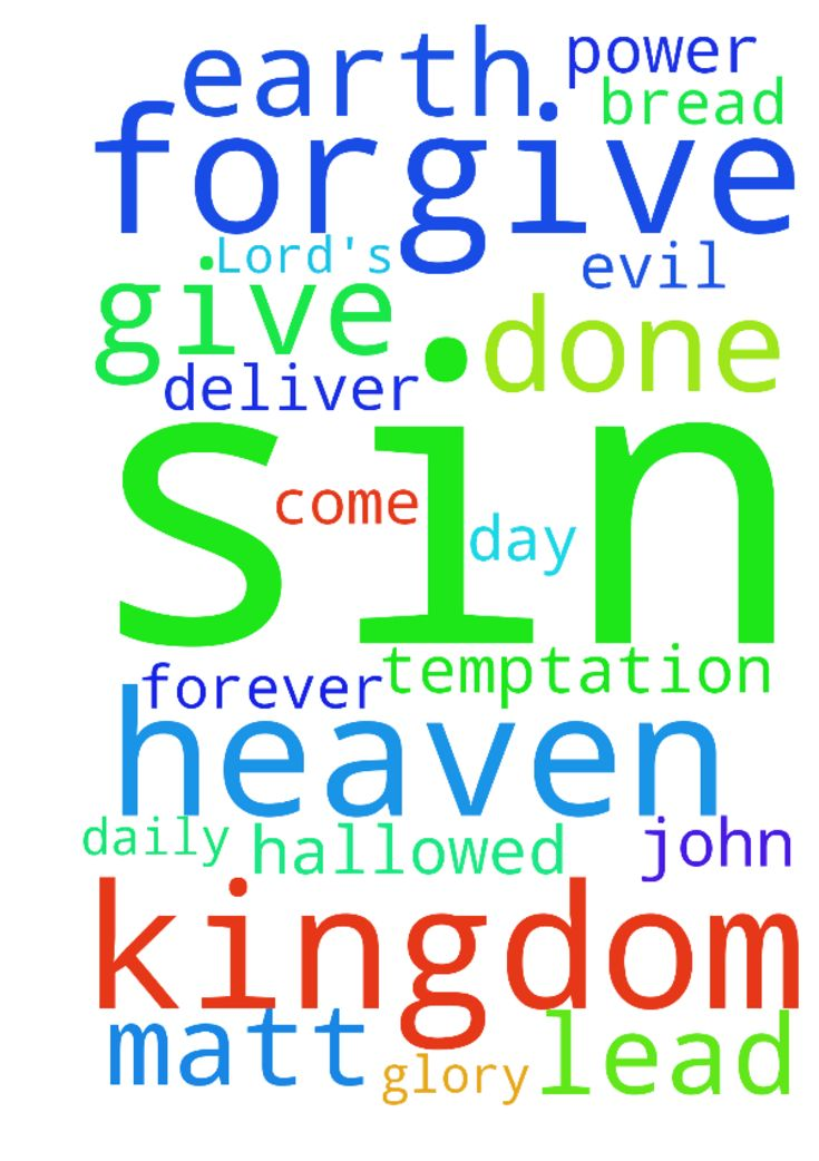 The Lord's Prayer - Our Father in heaven, Hallowed be Your Name Your Kingdom come Your Will be done on earth as it is in heaven Give us this day our daily bread And forgive our sins, As we forgive those who sin against us. And lead us not into temptation, But deliver us from evil Its Your Kingdom, Its Your Power and Its for Your Glory, forever Matt 6914. Thank you in The Name of Jesus John 141314. Posted at: https://prayerrequest.com/t/Thf #pray #prayer #request #prayerrequest