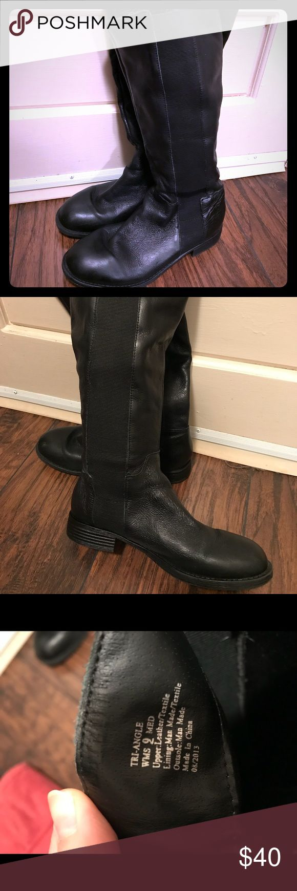 Black Leather & Stretch Knee High Boots- size 9 Black Leather and Stretch Knee High Boots- size 9 Flat Soles Shoes Winter & Rain Boots