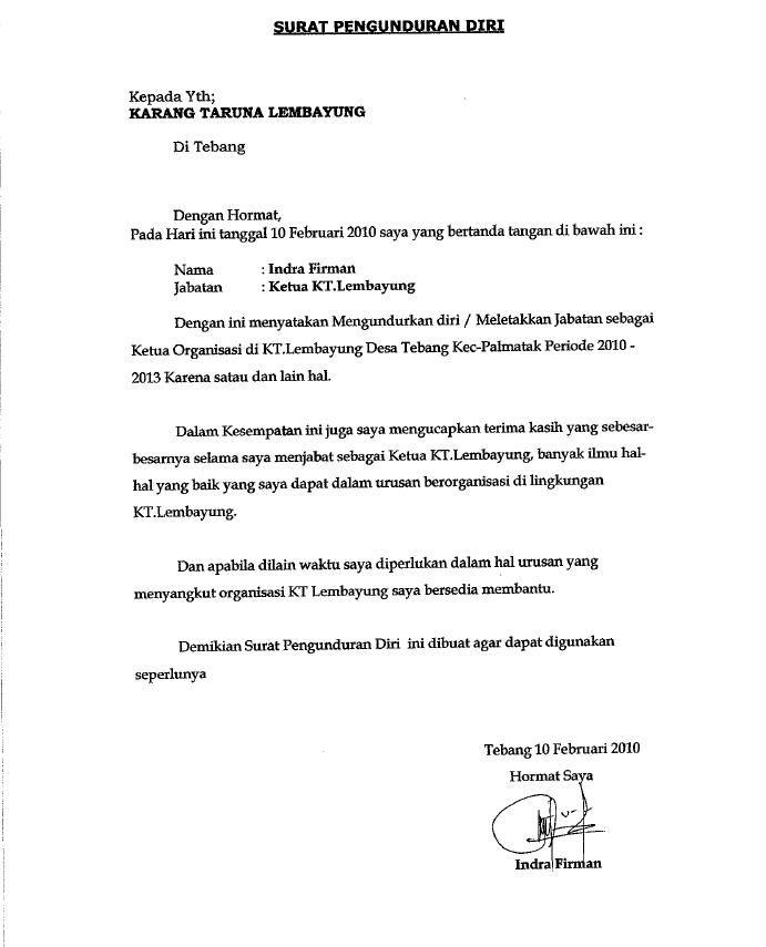 Contoh Surat Pengunduran Diri Dari Pengurus Organisasi ...