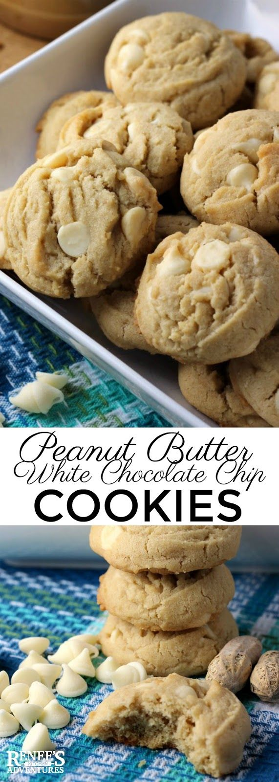 Peanut Butter White Chocolate Chip Cookies | Easy recipe for Peanut Butter White Chocolate Chip Cookies. Perfect a perfect addition to your holiday baking menu! Rich peanut butter cookies are studded with lots of white chocolate chips and sprinkled with a little salt. These cookies are delicious!