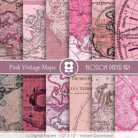 Digitale Landkarten-Papier, Rosa alte Karten, Antike Landkarten, digitalem Papier Pack Jahrgang Karten alte Karten Scrapbooking - sofort-DOWNLOAD - 1982