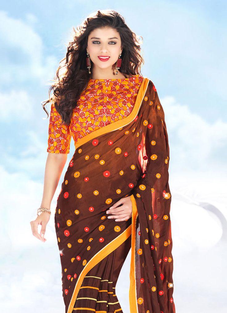 Brown Satin Embroidered Saree