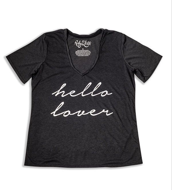 """""""And then she said…"""" [Hello Lover]     The perfect gift for your love this Valentine's Day, let them carry your affection with them at all times.  Heathered Charcoal  Silver Foil Print  Vintage Feel Cotton Blend  V Neckline  Relaxed Fit  RubyLilli_hello_lover Size S (10) to 5X (26)"""