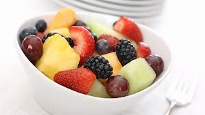 Daily dose of fresh fruit, berries and cantaloupe.