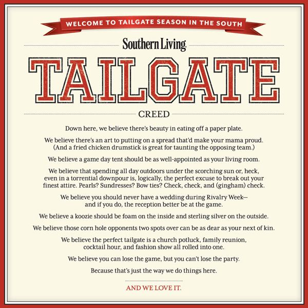 Southern Living Tailgating Creed