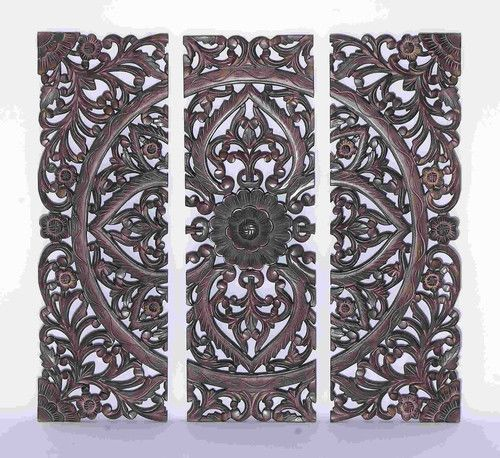 36x36 Large Dark Carved Wood Wall Art Panel Moroccan African Jungle Style Decor #Benzara