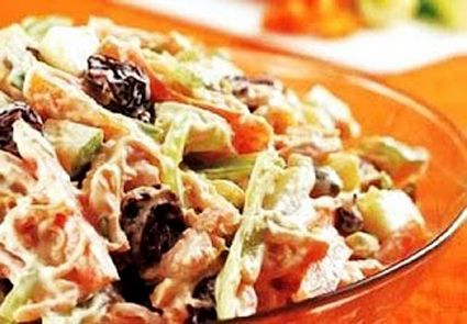 A Brazilian friend made this for me before, it was delicious!! Flavors of Brazil: RECIPE - Brazilian Chicken Salad (Salpicão)
