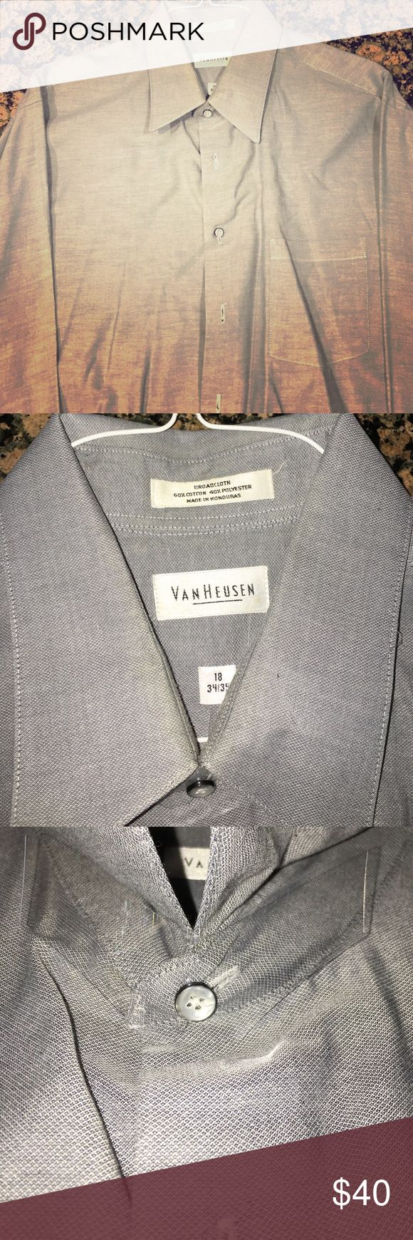 *NWOT* Men's Van Heusen Button Down - 18-34/35 Blue Men's Van Heusen Dress Button Down. This shit was purchased, dry cleaned and never worn. You can see dry cleaning tag on one button hole and shirt collar stays are still in place. 60% Cotton, 40% Polyester. 18 inch neck, size 34/35. Van Heusen Shirts Dress Shirts
