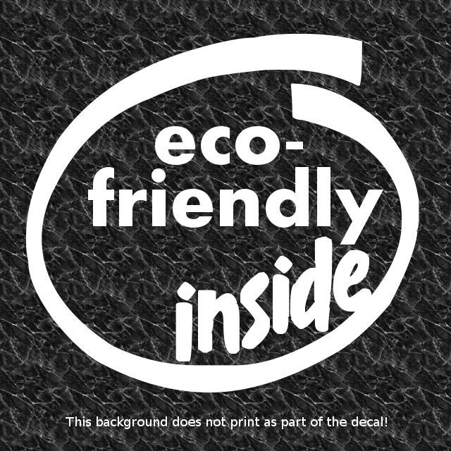 ECO-FRIENDLY INSIDE DECAL STICKER LOVE HYBRID CAR MPG SAVER GREEN ENVIRONMENT