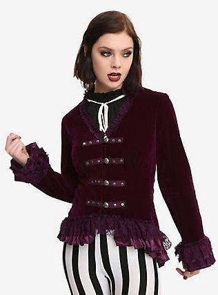 7fb23deb1ee Burgundy Velvet Lace-Up Ruffle Bodice Girls Jacket, PURPLE | Fantasy ...