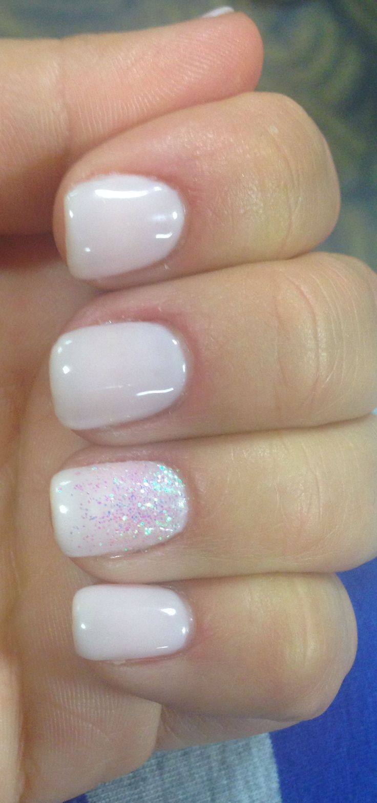 White nails with silver on the ring finger. | nails | Pinterest ...