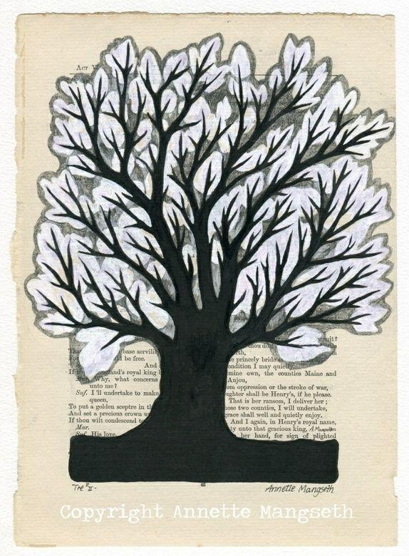 Tre -Original tegning Tree - Original drawing on book page - Art by Annette Mangseth - Carambatack Design