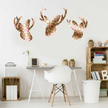 Our Geometric Jackalope adds a modern twist to a fanciful decal. They are perfect decorations for a new dorm or apartment. This decal set consists of 3 Large Jackalopes filled with a cocoa brown and pink geometric, low-poly design. These decals are very easy to apply, they are also removable, reusable and repositionable.