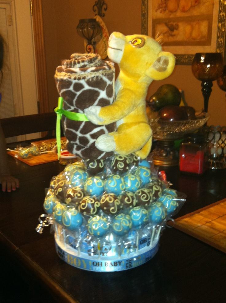 Baby Shower Cake Pops Arrangement Simba Theme