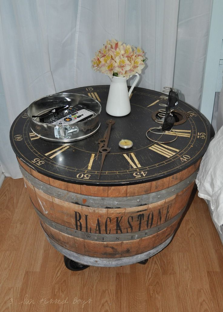 Cool nightstand made out of a recycled wine barrel. Perfect for the barrels in my barn that are not perfect at the top.