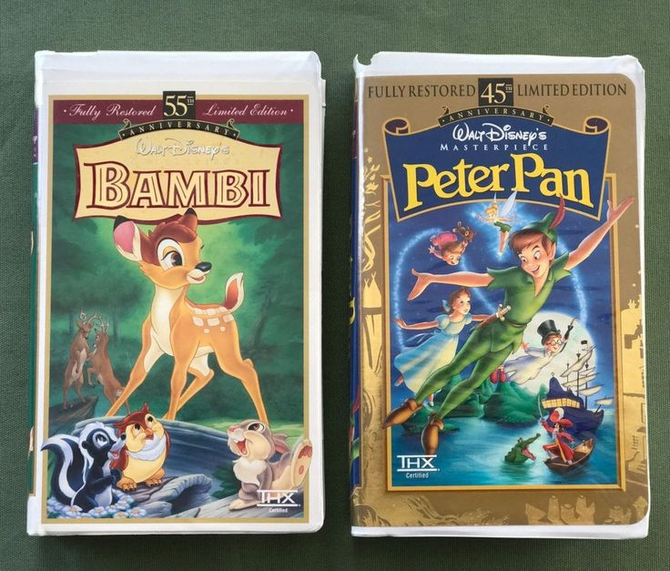 Disney 55th Anniversary Master Piece Limited Edition Bambi + 45th Peter Pan VHS #Disney
