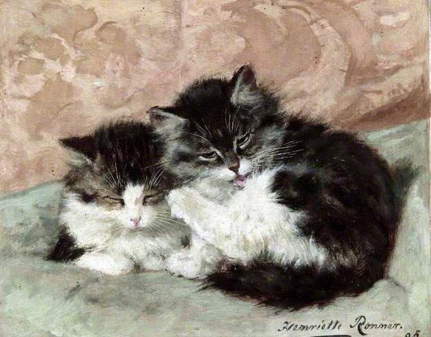 Happy Days - c1895 - The Parson's Kitten | print by Henriette Ronner-Knip
