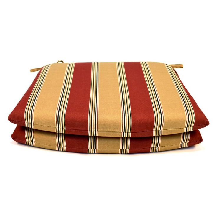 Casual Cushion Tapered Outdoor Seat Pad - Set of 2 Burgundy/Tan - DSSPTP-BURSTX2