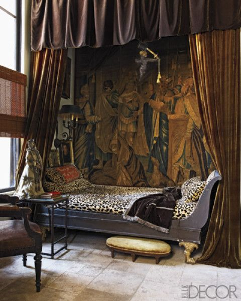 impressive guest bedroom. I love the leopard, the sleigh bed and most of all the velvet curtains that can completely enclose the bed