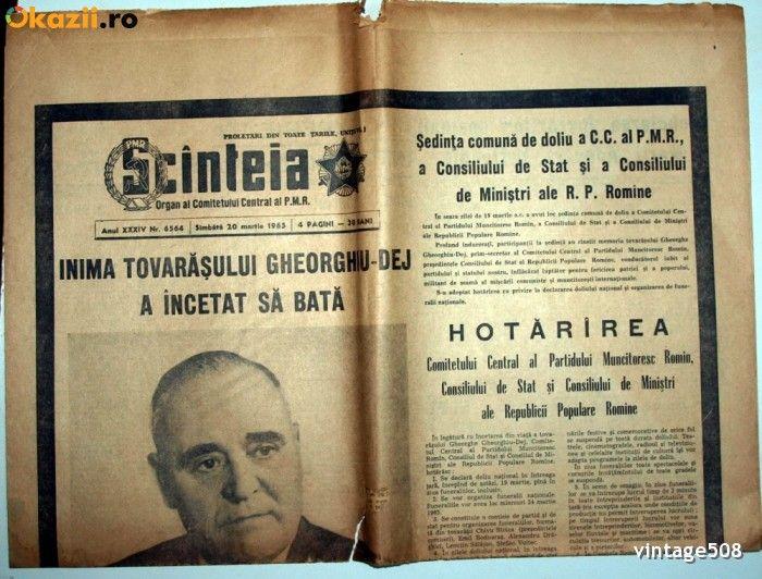MOARTEA LUI GHEORGHE GHEORGHIU DEJ - SCINTEIA / SCANTEIA - 20 MARTIE 1965
