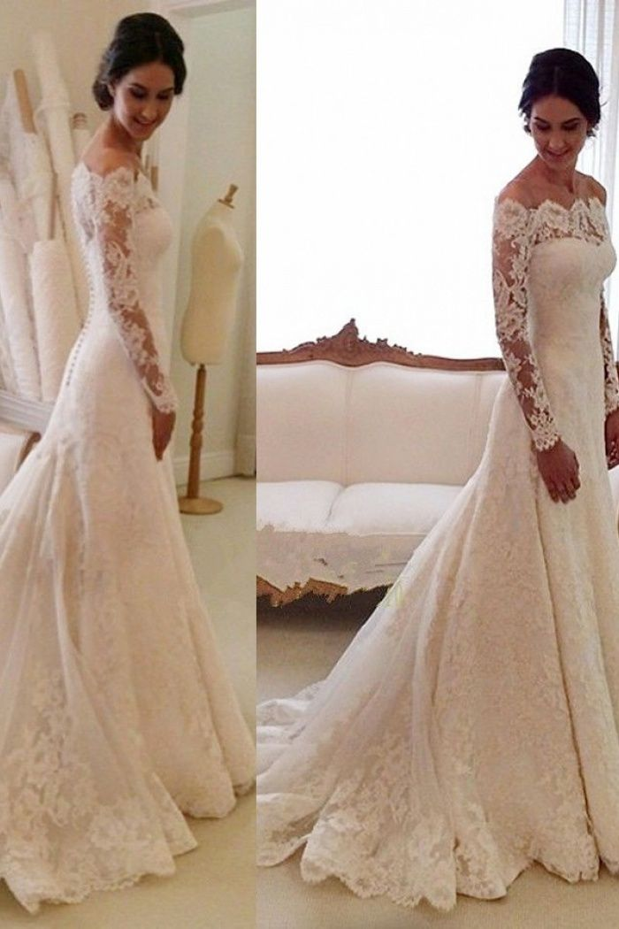 Mermaid Off-the-shoulder Court Train Ivory Lace Long Sleeves Wedding Dress with Appliques