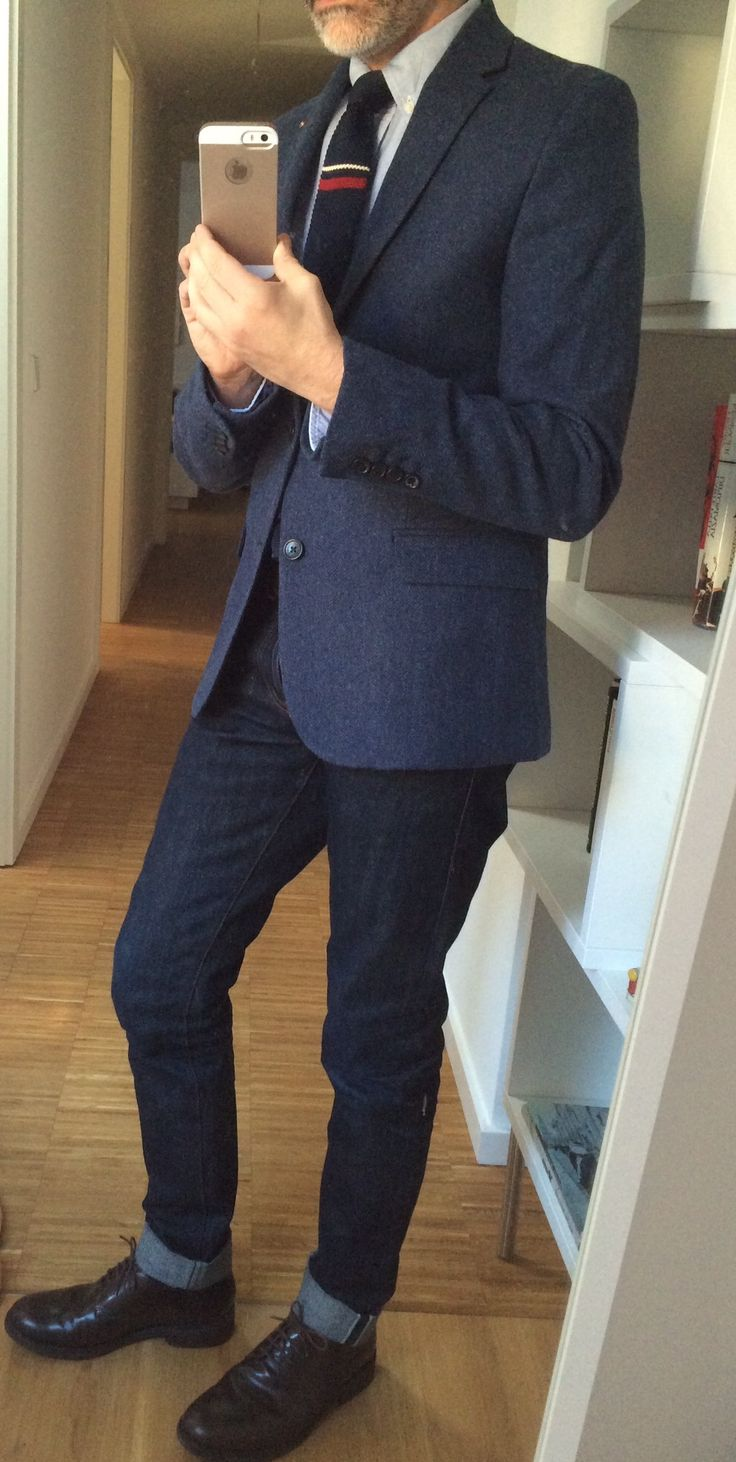 Blazer, Oxford shirt, Tie and Shoes Ben Sherman, Raw Jeans 14oz Unbranded