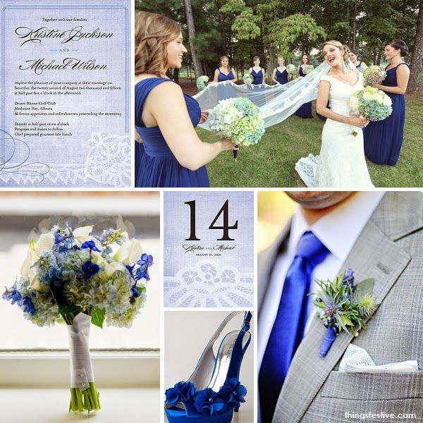 Pantone Bright Cobalt Wedding Inspiration #inspirationboard #pantonefall2014