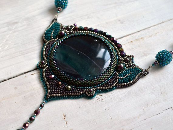 Embroidered Necklace beadwork jewelry beaded от suzidesign