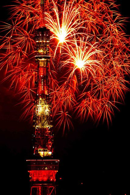 Fireworks at the Tokyo Tower in Japan