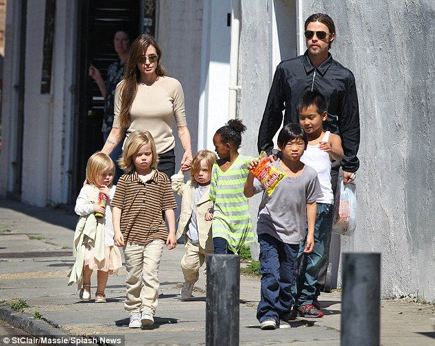 Brad's large on-set trailer is perfect for impromptu visits from Angie and their six child...