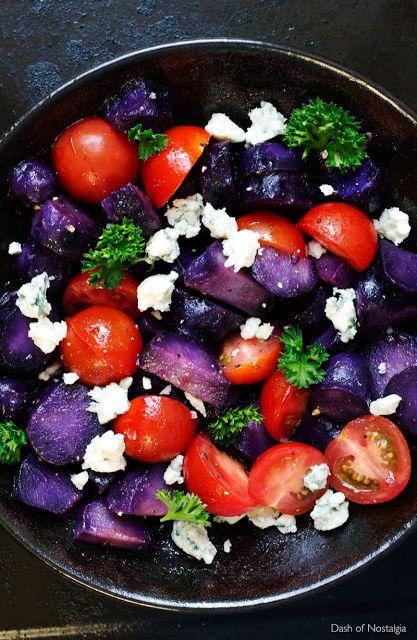 Dash of Nostalgia: Vitelotte potato salad with blue cheese