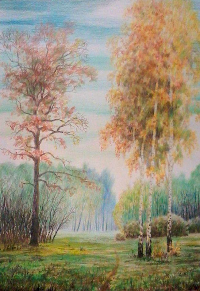 Василий Россин (Vasily Rossin), Осень в лесуAutumn in the forest2010 г.Бумага, карандашPencil, paper40 х 28