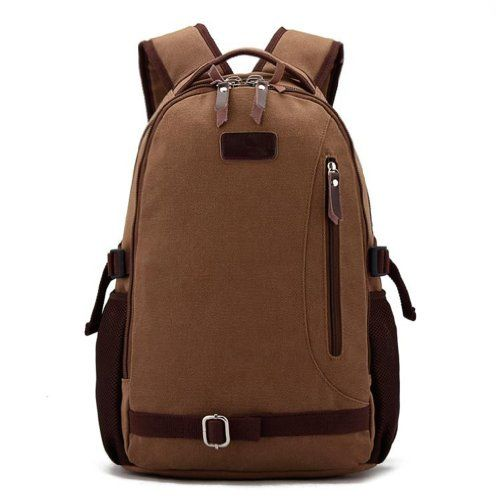 Mens Retro Canvas Casual All Cotton Youth Laptop Computer Backpacks Travel  Bag Pocket Coffe **