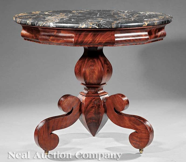 An American Classical Carved Mahogany Center Table, C. 1833, Attributed To  J.