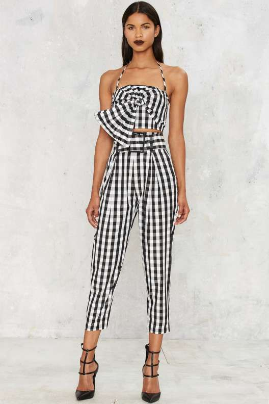 Kendall + Kylie Gingham Style Belted Trouser - Kendall + Kylie