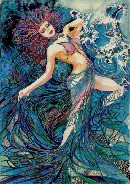 """""""Spirit of the Waves- Limited Edition Glicee print for $300- framing available for an additional $120"""" by Annette Golden. Paintings for Sale. Bluethumb - Online Art Gallery"""