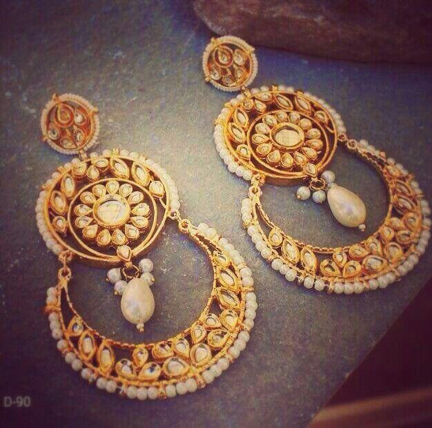 Long kundan earrings @Rs. 1100 only