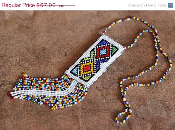 ON SALE Ethnic Beaded Necklace Colorful Necklace by HeriniaJewelry
