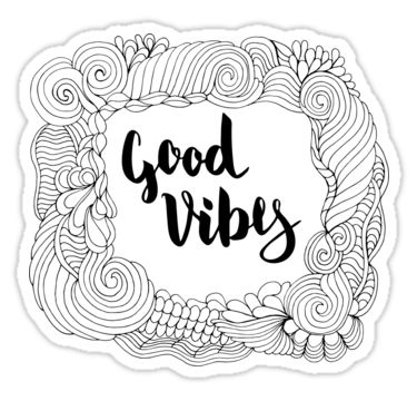 Good Vibes. Black text and doodle frame on white background. by kakapostudio