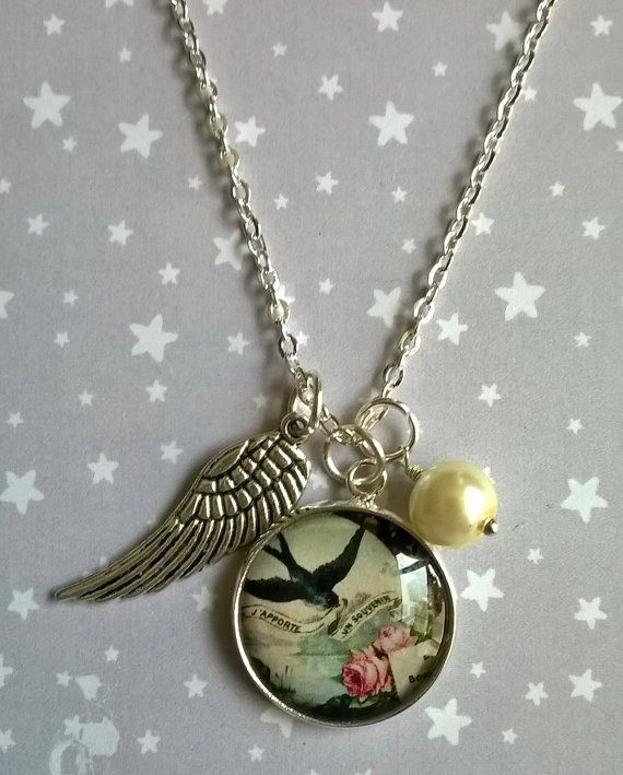 The Swallow and Pink Rose Charm Necklace by TheMysticalPug on Etsy, £8.00