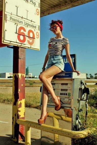 Women's looks- petrol station