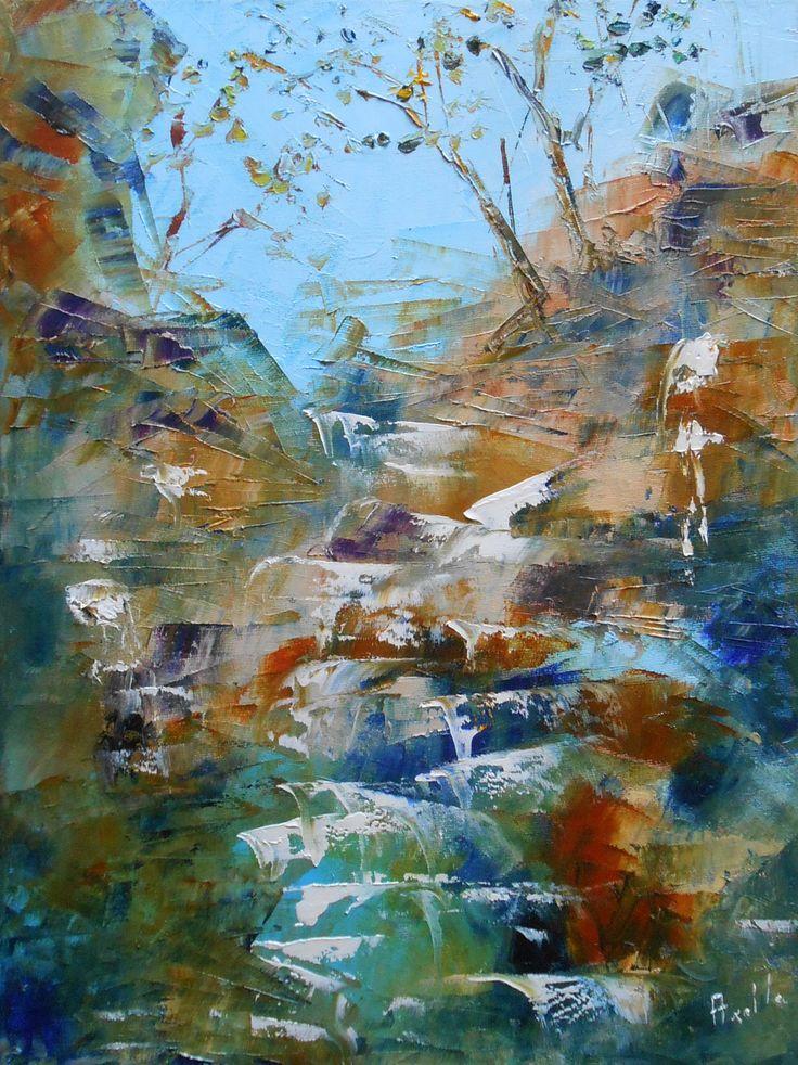 Tableau cascade torrent de montagne peintures axelle bosler for Peindre une baignoire en acrylique