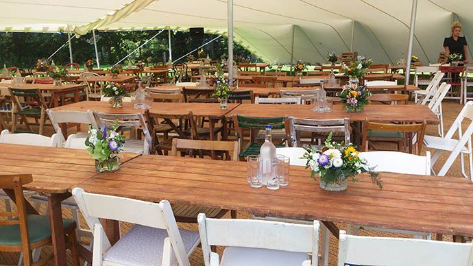 stretch marquee vintage dining