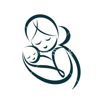 Young mom hugs her baby stylized symbol vector on VectorStock