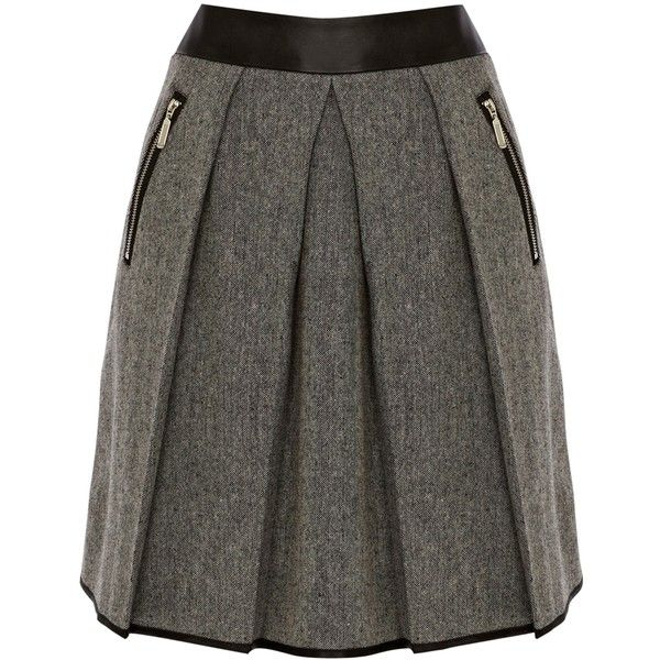 Warehouse Contrast Tweed Skirt, Black ($71) ❤ liked on Polyvore