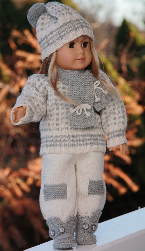 """Oscar"" knitting pattern Adorable outfit for your Springfield Doll or other 18 inch doll. $8.05"