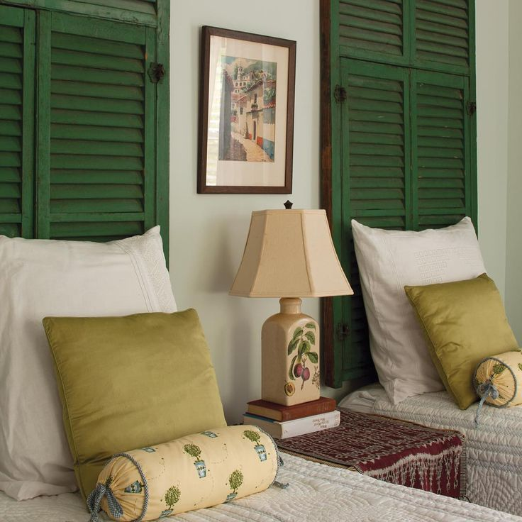 We Love This Clever Design Idea For Repurposing Old Shutters. In This  Cottage Bedroom, Two Shutter Panels Are Hung Above Twin Beds To Make  Instant ...